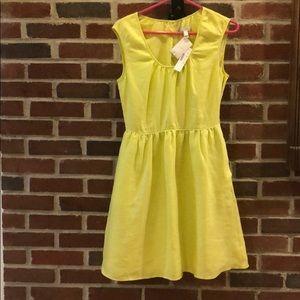 J. Crew Chartreuse Linen Cap Sleeve Causal Dress